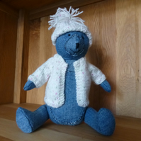 teddy bear - denim nursery decoration - shelf sitter - ornament