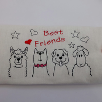 Galsses case - soft padded and embroidered best friends