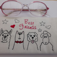 Spectacle case - best friends glassess case - embroidered llama dog cat sheep