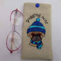glasses case embroidered pug - gift for pug lover