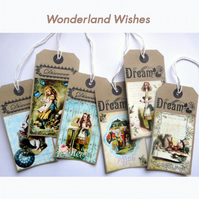 Alice In Wonderland Vintage Styled Gift Tags Set of 6
