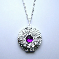 Amethyst Sparkle Silver Filigree Locket Necklace
