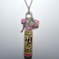 Alice In Wonderland Vintage Styled Whimsical 'Drink Me' Pink Potion Pendant