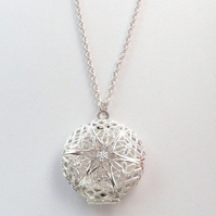 Silver Vintage Styled Filigree Locket Necklace