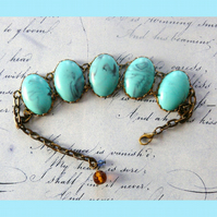 Vintage Bronze And Turquoise Bracelet Timeless Classic