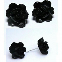 Petite Black Rose Stud Earrings