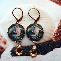 Vintage Mermaid & Sea Shell Drop Fantasy Earrings