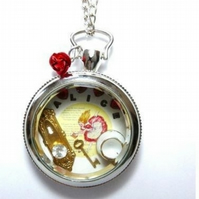 Alice In Wonderland Whimsical Steampunk Pocket Watch Pendant