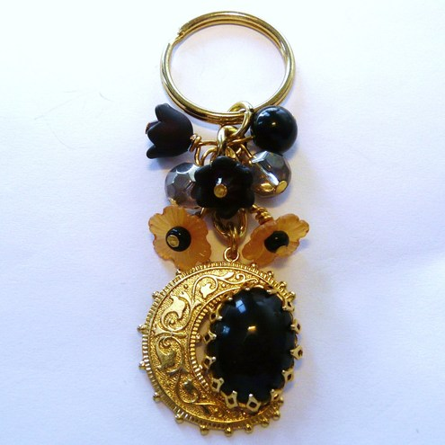 Midnight Moon Crescent Bag Charm Keyring