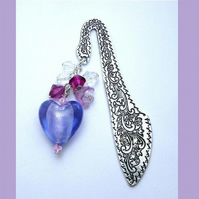 Lilac Ice Hearts Stars & Flowers Luxury Bookmark