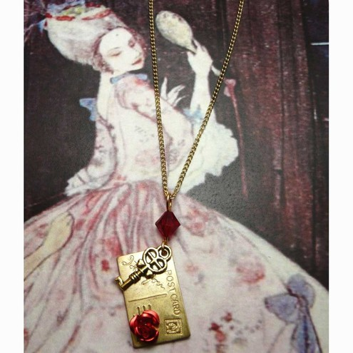 I Love You Postcard Rose Red Key Pendant