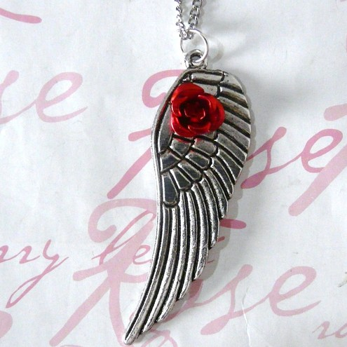 My Guardian Angel 'Wing & Rose' Necklace