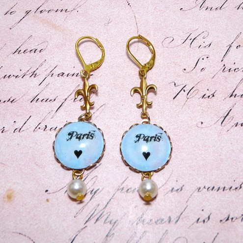 Vintage Paris ♥ Fleur De Lis Pearl Dangle Drop Earrings