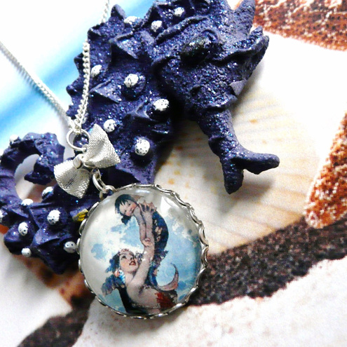 Mermaid Mother And Child Fantasy Sea Themed Necklace