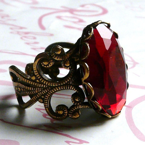 SALE £6.99 Gothic Blood Lust Red Faceted Filigree Ring