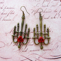 Vintage Styled Phantom Inspired Rose Chandelier/Candelabra Earrings