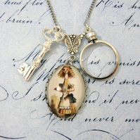Alice In Wonderland The Looking Glass Steampunk Pendant Key