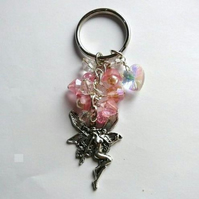 Magical Fairy with Pink Accents Bagcharm Keyring