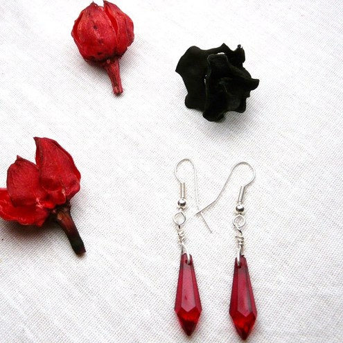Gorgeous Gothic Blood Red Dagger Earrings
