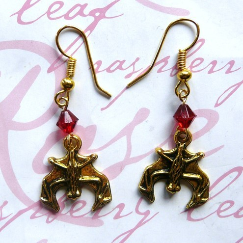 Gothic Vampire Bat Earrings in Red & Gold
