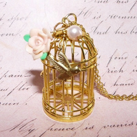Free The Caged Bird Flower And Pearls Vintage Inspired Necklace