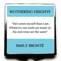 "Wuthering Heights, Emily Bronte Compact Mirror, ""... Whatever our souls... Blue"