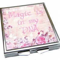 Magic is in my DNA Pill Box, Pink Mirror, Mystical,Magical