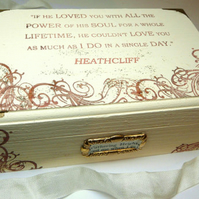 "Wuthering Heights Jewelry Box ""If he loved you..."" Heathcliff, Recycle Book Page"