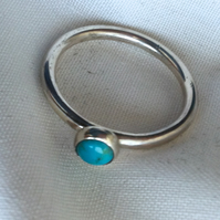 Sterling Silver 'Sand Shifter' Stacking Ring, Turquoise. Other gems available.