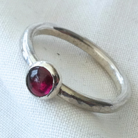Sterling Silver 'Sand Shifter' Stacking Ring, Garnet.  Other gems available.