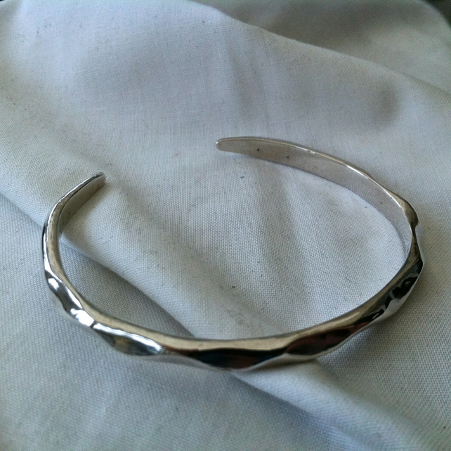 Sterling Silver 'Sand Ripple' Bangle Hallmarked
