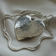 Sterling Silver Heart 'Sea Shimmer'  Necklace - Made to order