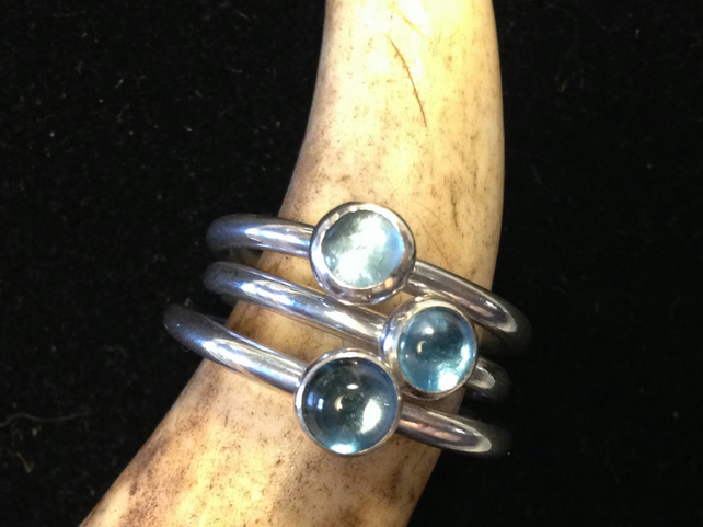 Sterling Silver 'Sand Shifter' Stacking Ring, Topaz - Sky, Swiss or London Blue