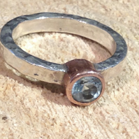 Sky Blue Topaz set in copper on a hammered silver band - Made to Order