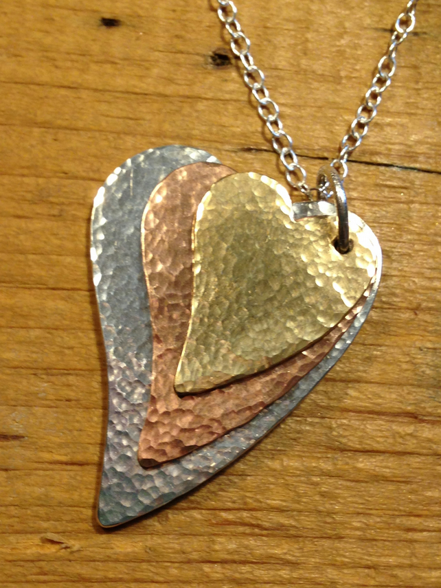 Sea Shimmer Mixed Metal Triple Heart Pendant - made to order