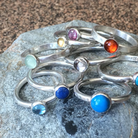 Sterling Silver Stacking Rings. Various gems available. Msg for details.