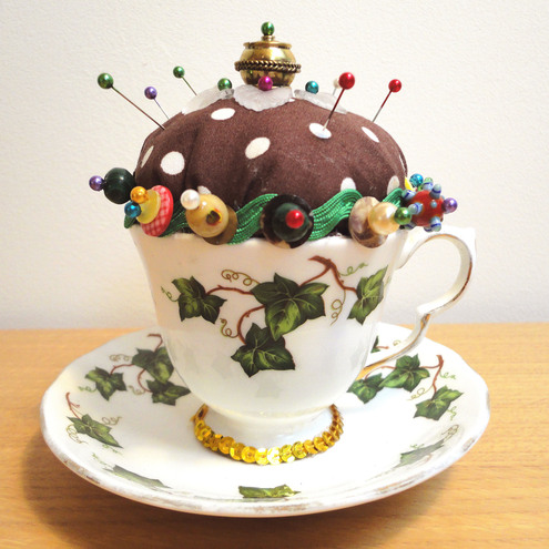 Vintage Tea Cup Pincushion