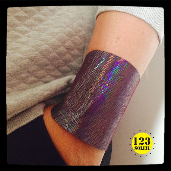 "iridescent aubergine leather cuff -""WONDER CUFF"""