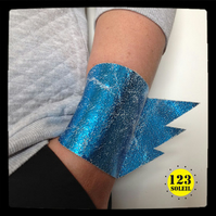 "Electric blue metallic crackled  leather cuff -""SUPER CUFF"""