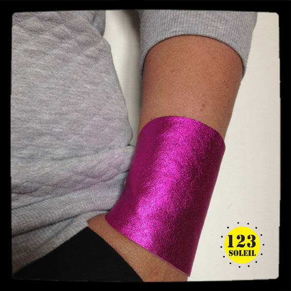 "Pink metallic leather cuff -"" Shocking pink WONDER CUFF"""