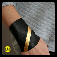 "Black and gold leather cuff -"" WONDER CUFF"""