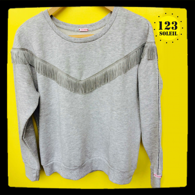 Light grey FRINGE SWEATSHIRT (UK12  EUR 40)