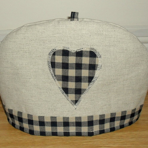 Tea CosyLaura Ashley FabricGinghamCharcoalHeart