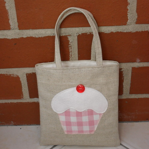Mini Tote Bag~Laura Ashley Fabric Gingham Pink Cupcake
