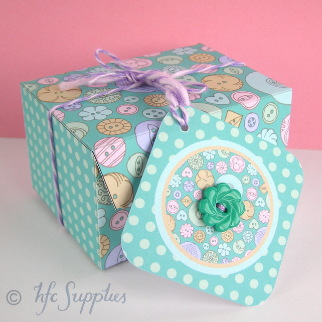 photo regarding Printable Gift Box called 3 Pastel Buttons Printable Present Bins, do it yourself box, B1011