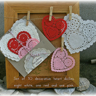 Decorative heart doilies (10)