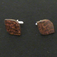 Leaf shaped Cuff Link in Snakewood