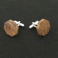 Octagonal Cufflinks in Amboyna Burr