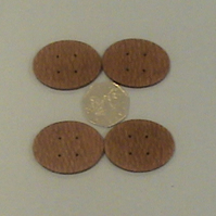 Set of four Oval Buttons in Roupala Lacewood