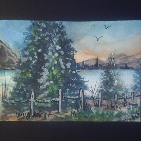 aceo lakeside original watercolour by Gweddusart